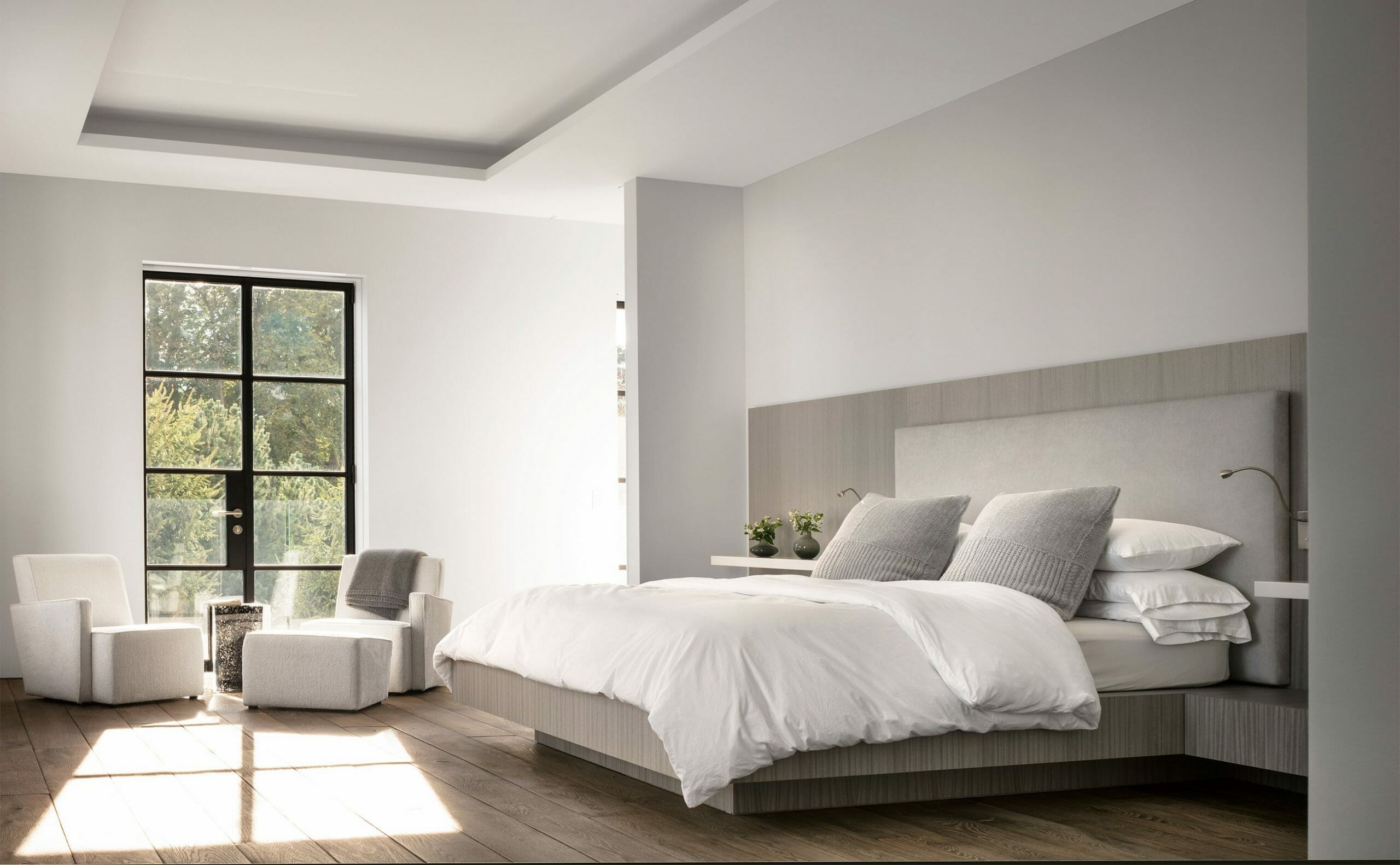 bright and airy modern mens bedroom interior design