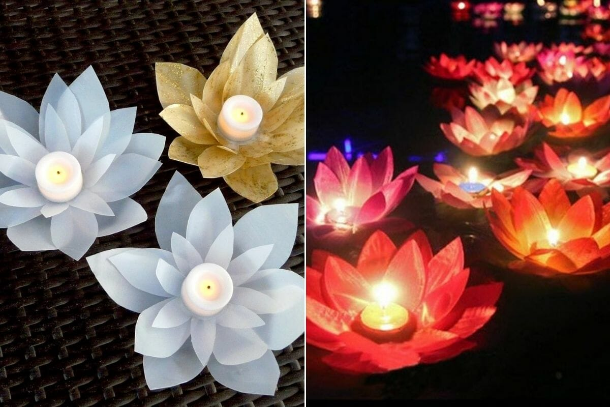 floating pool décor - DIY milk just candles