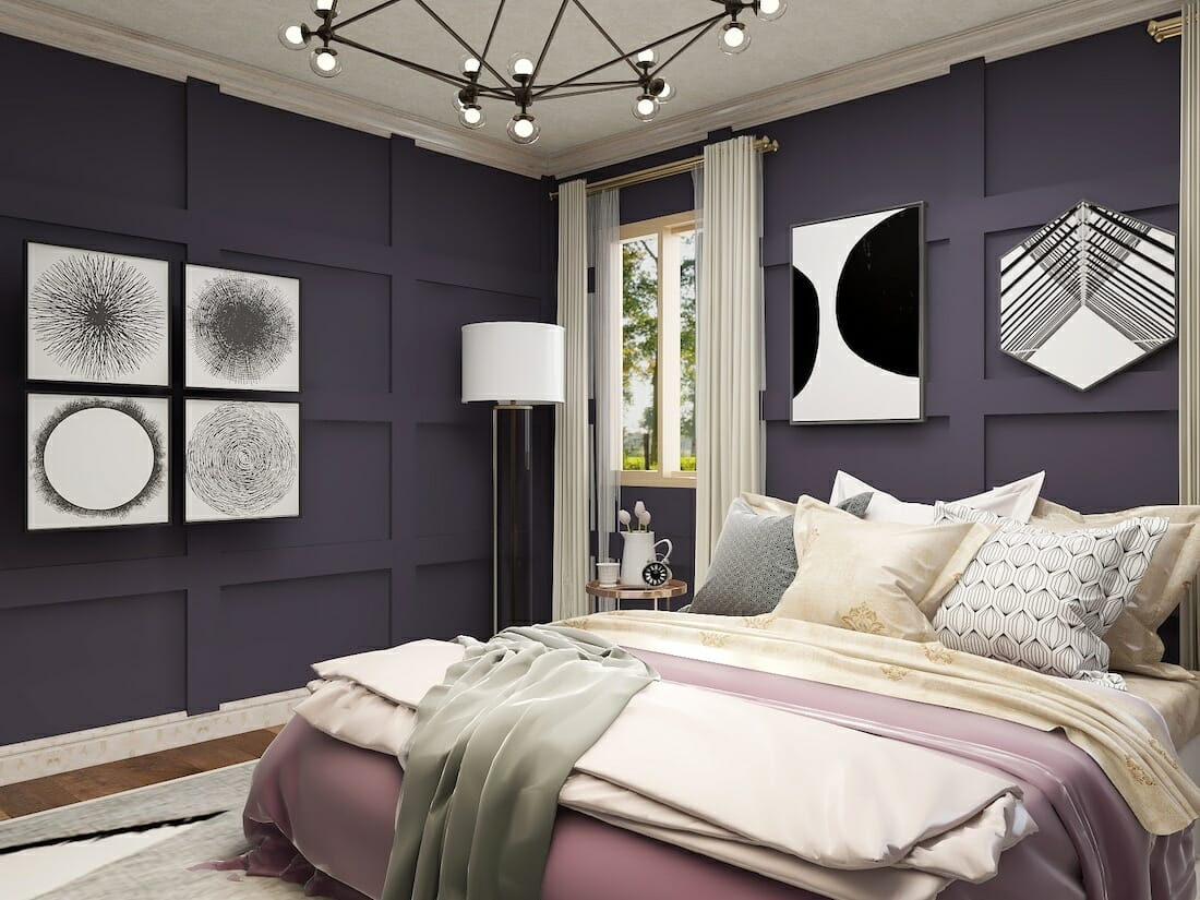 glam master bedroom with purple accent walls