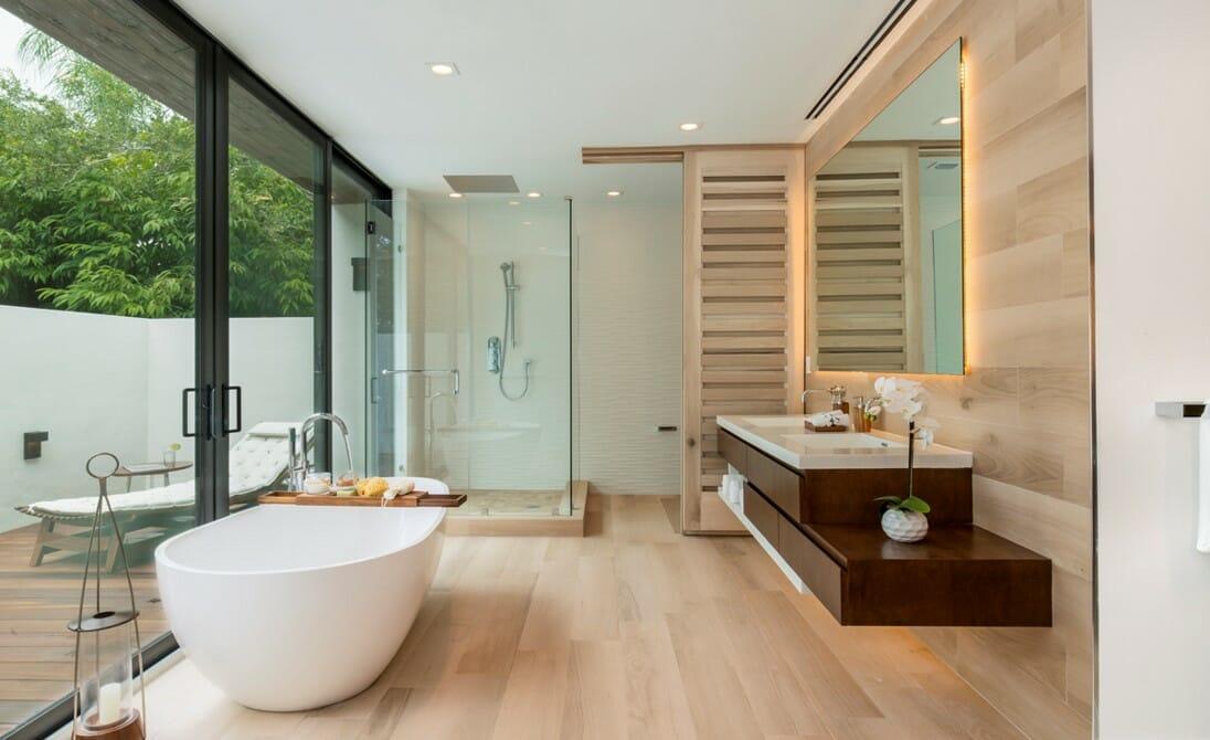 Contemporary bathroom interior design instagram post by decorilla