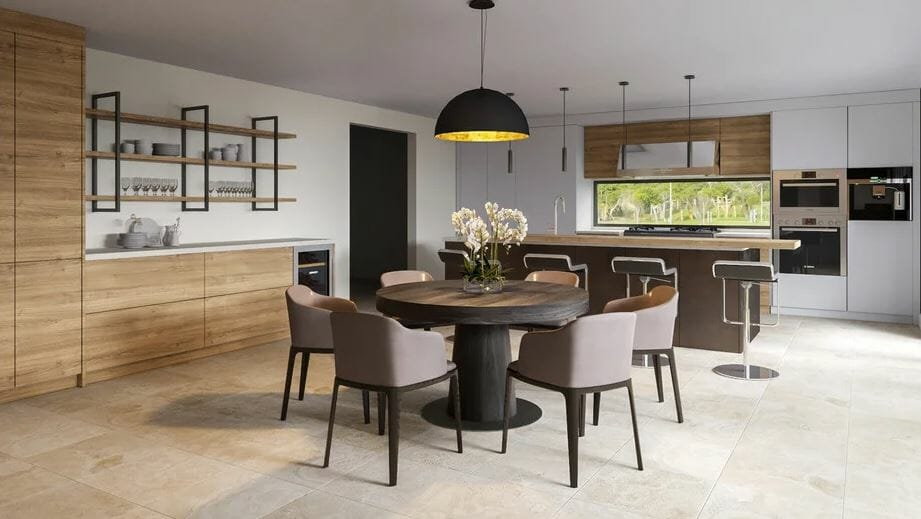 Contemporary kitchen and dining room home addition