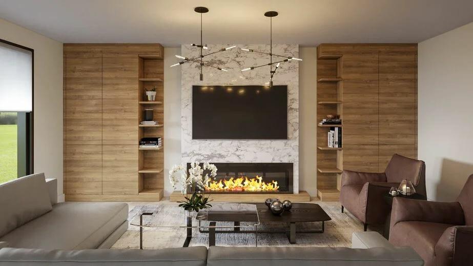 Contemporary living room as a home addition