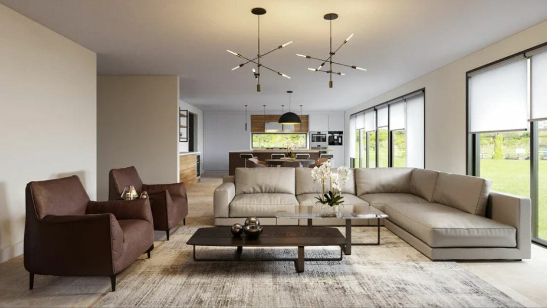Contemporary living room furniture and decor in an open concept home