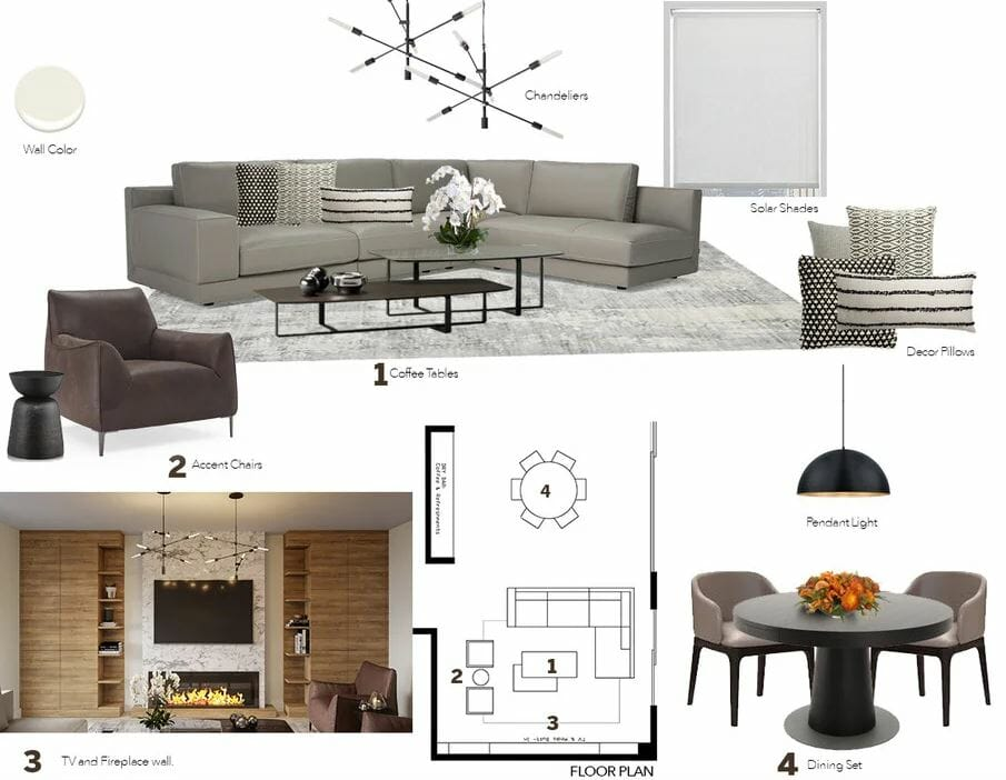 Contemporary mood board for a home addition - living and dining room