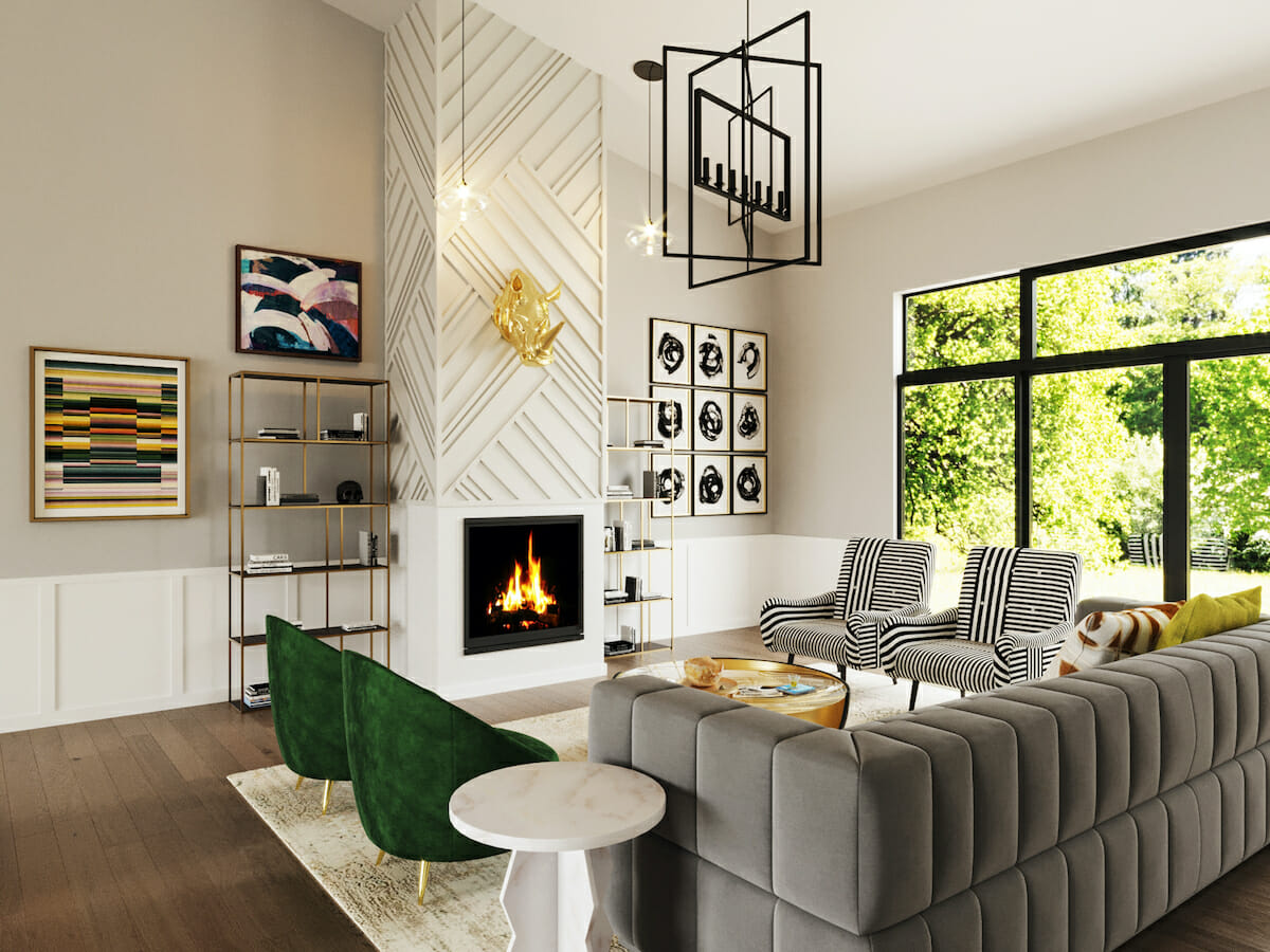 Fun lounge design with contemporary and eclectic decor - Jessica S.