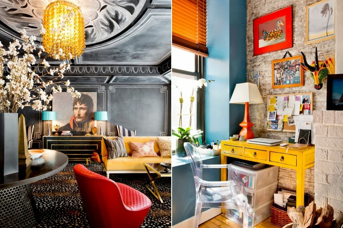 Glamorous interior with eclectic room decor style