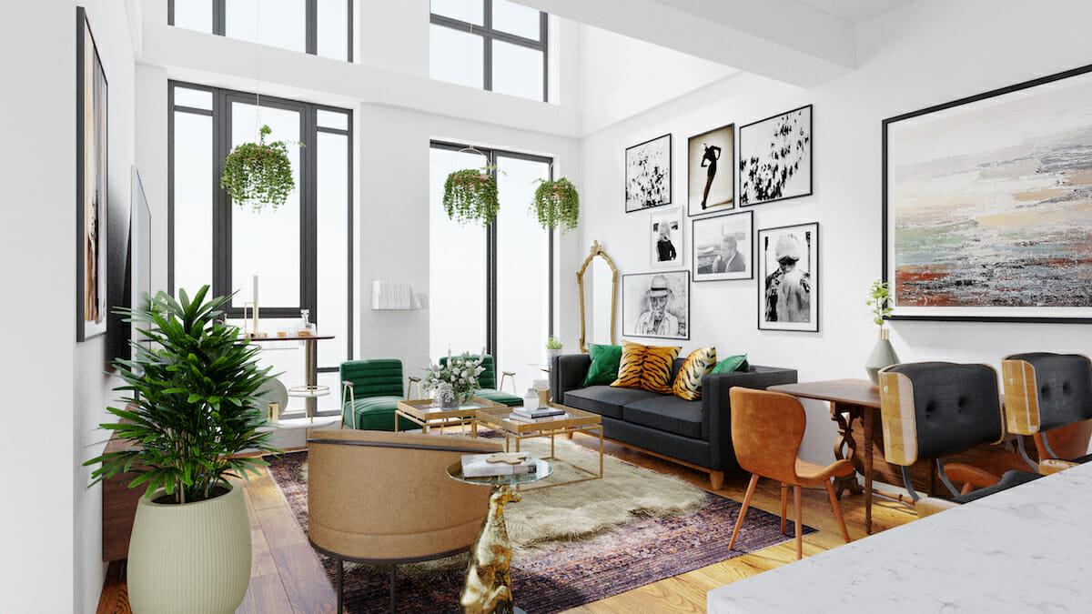 Living room with eclectic home decor by Decorilla interior designer, Wanda P.