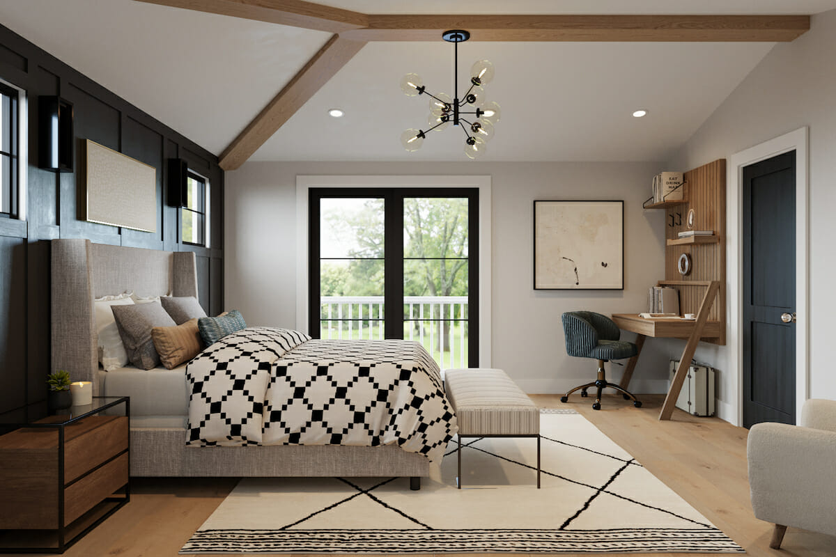Modern farmhouse bedroom decor with moody accent wall