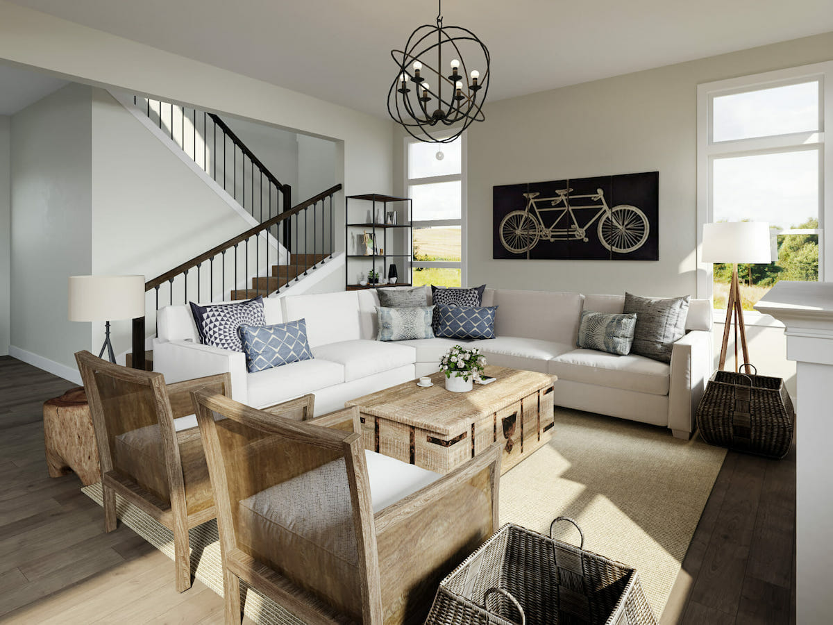 Modern farmhouse living room decor for a cozy gathering space