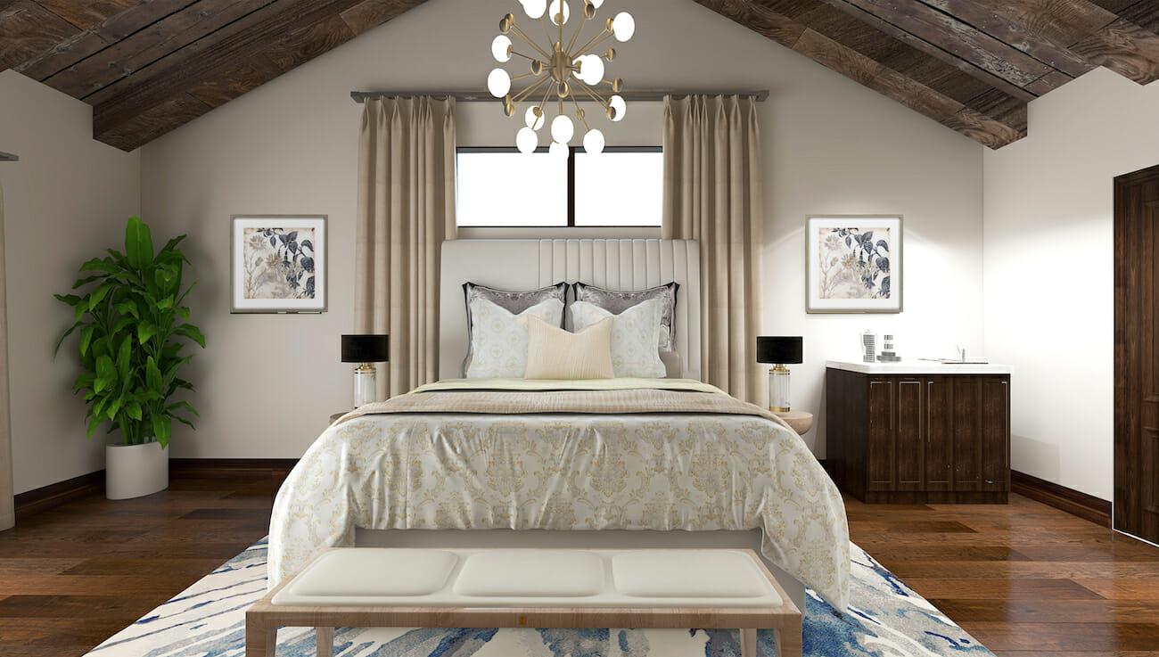 Modern rustic master bedroom retreat by interior decorators raleigh nc kassondra l