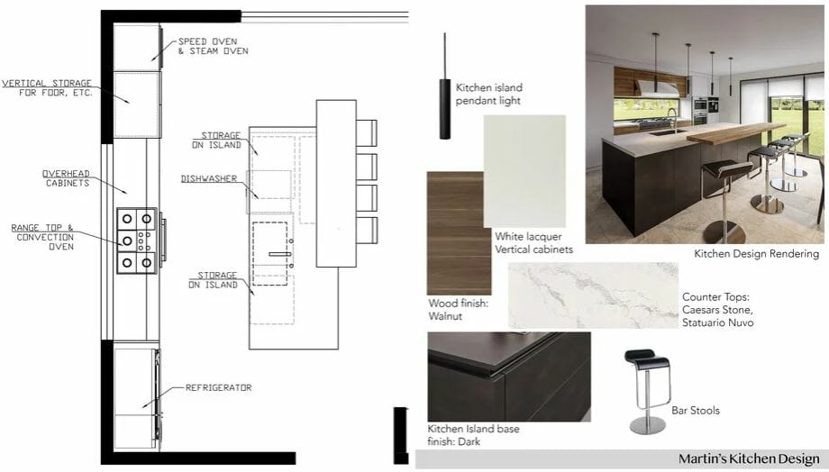 Mood board for a kitchen addition with contemporary kitchen cabinets