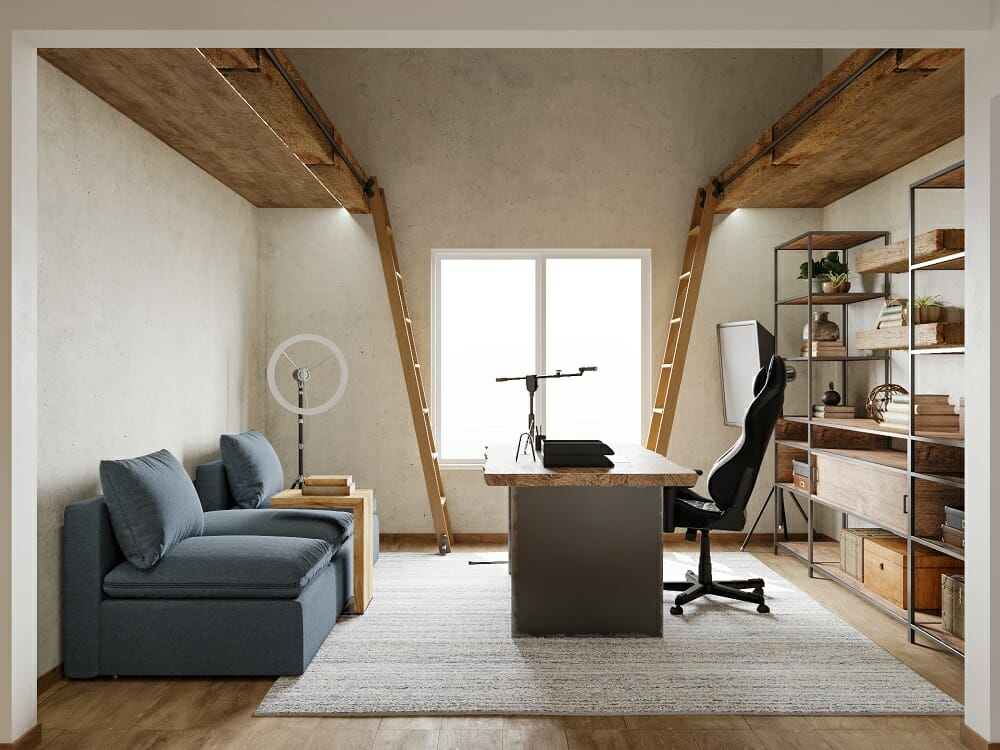 Office with rustic industrial decor - Wanda P