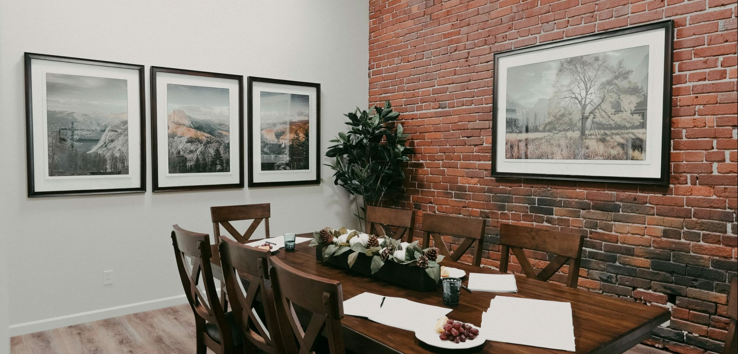 Rustic dining and meeting space by fresno interior decorator malia grace