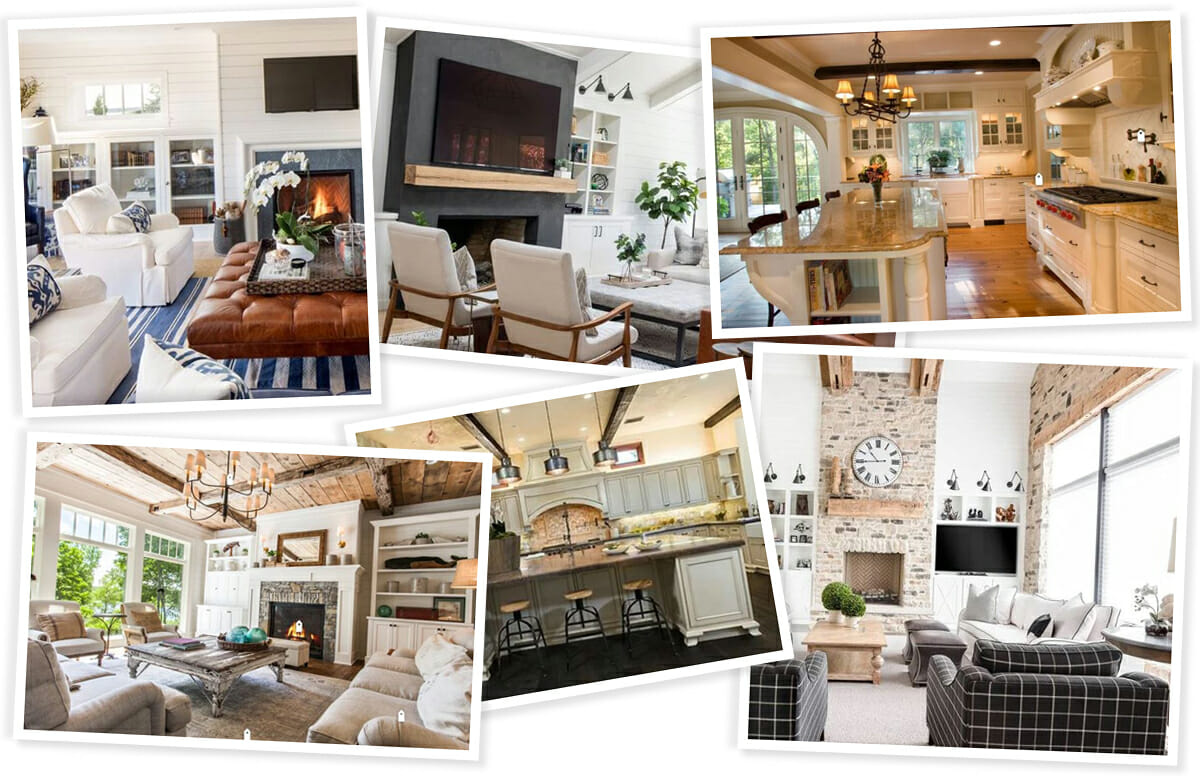 modern rustic interiors - kitchen and living room inspiration