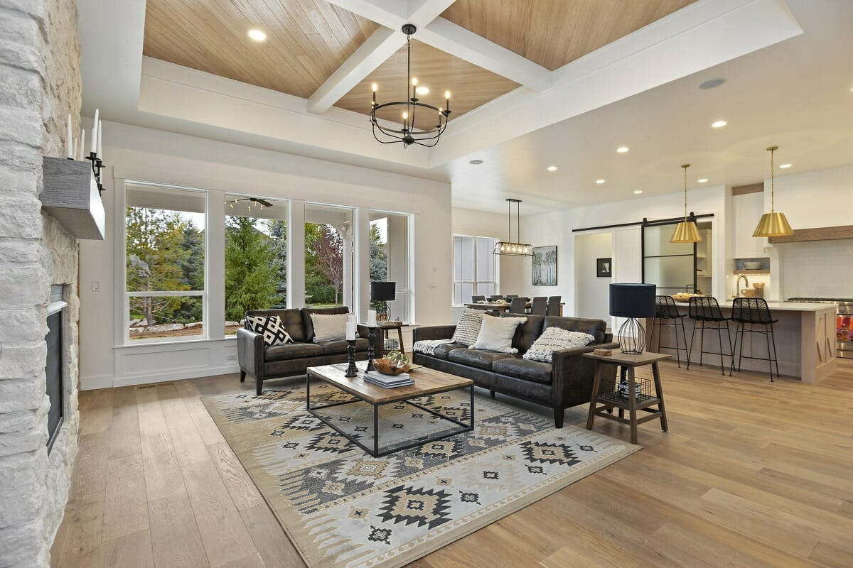 modern rustic living room and kitchen