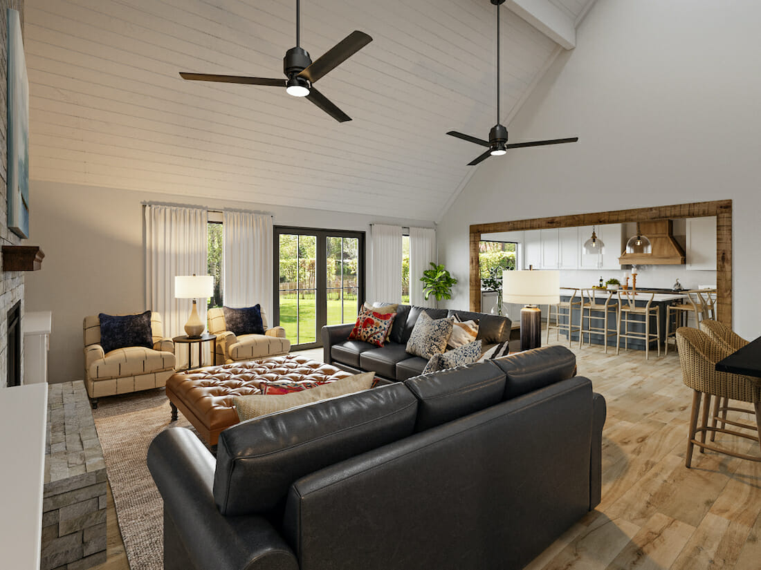 modern rustic living room interior and furniture