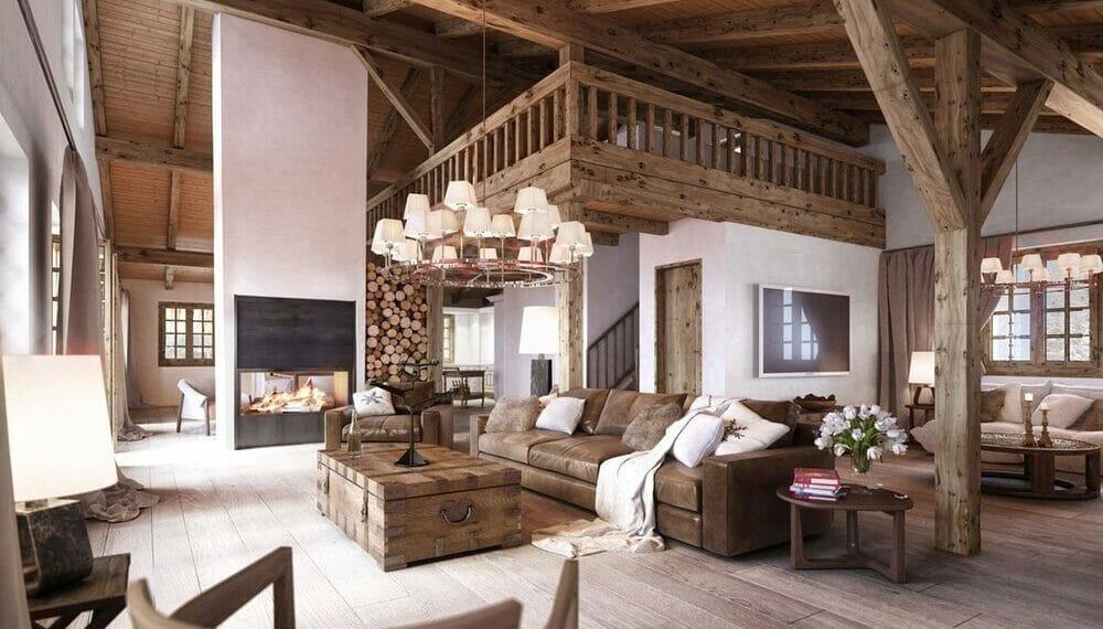 Classy Rustic home interior with exposed beams