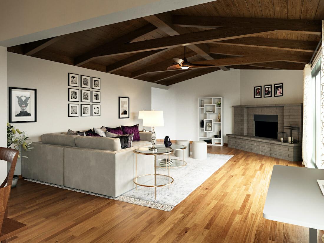 Contemporary and rustic glam living room decor by Decorilla designer, Tijana