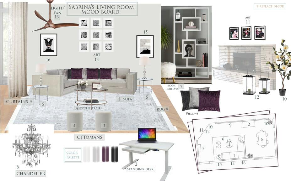 Glam living room decor by Decorilla
