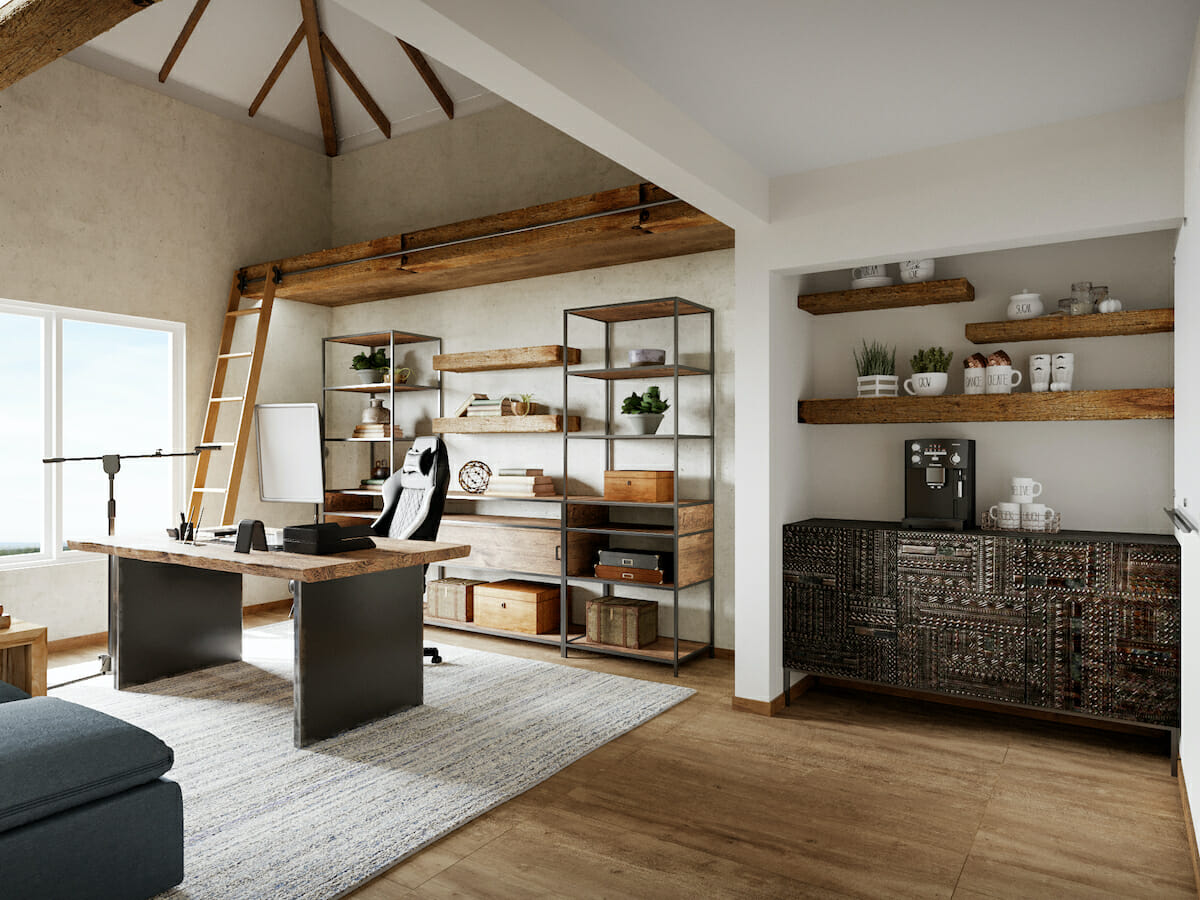 Rustic industrial interior design for a home office