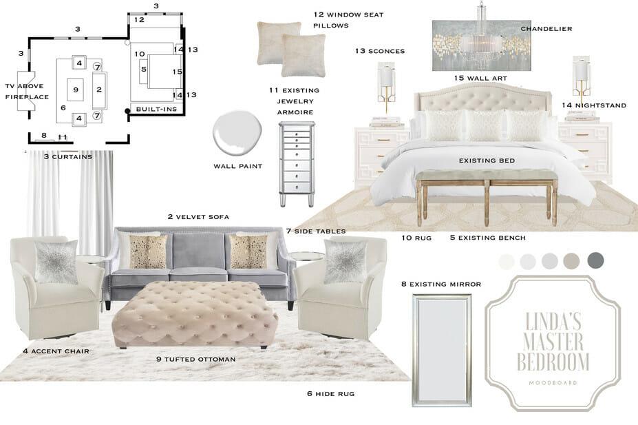 Transitional bedroom moodboard