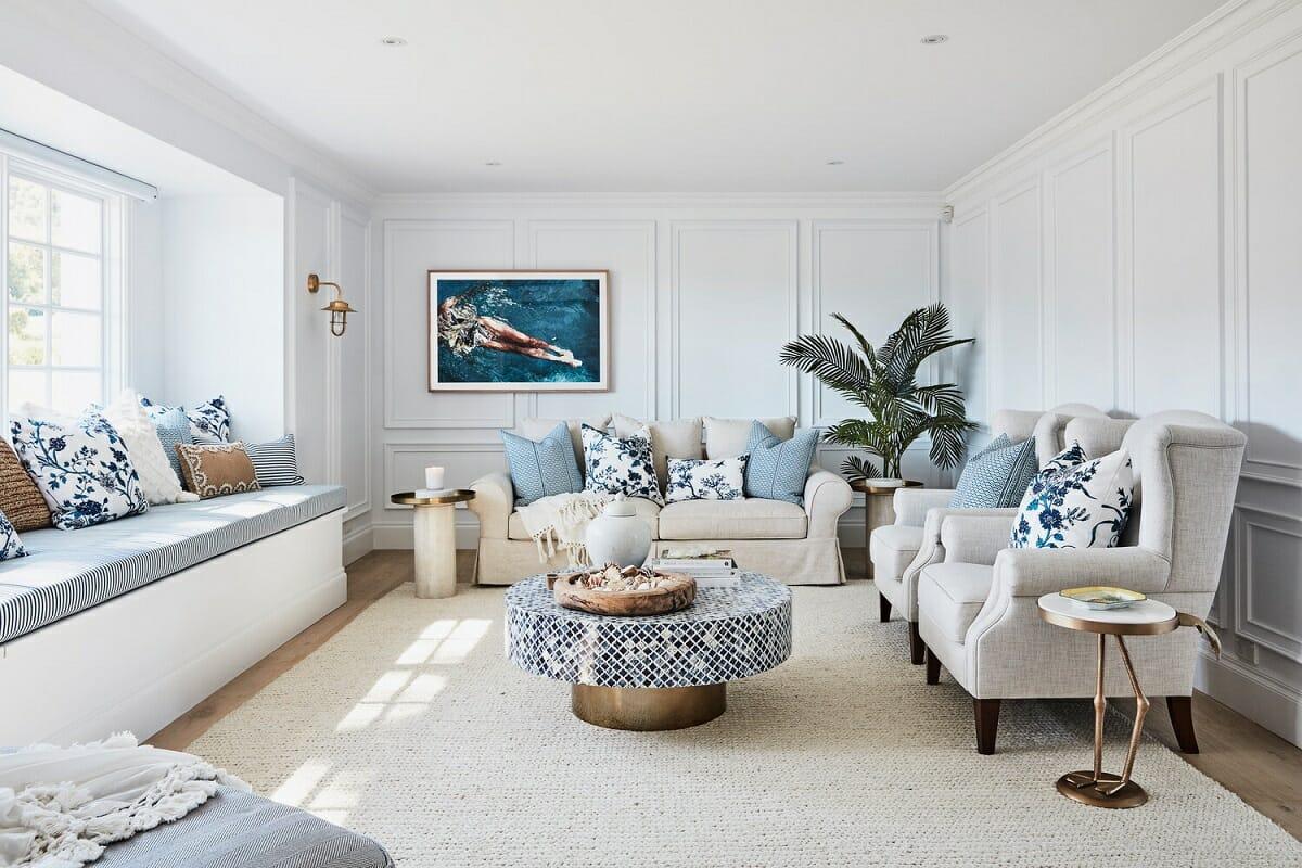 Coastal interior design sunroom