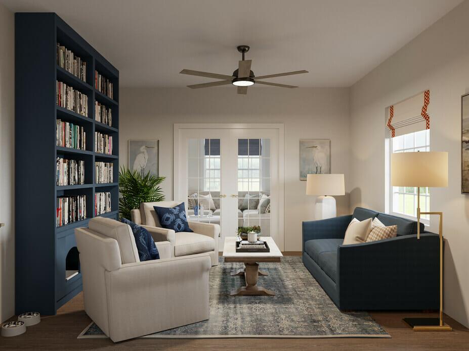 Coastal sunroom and library