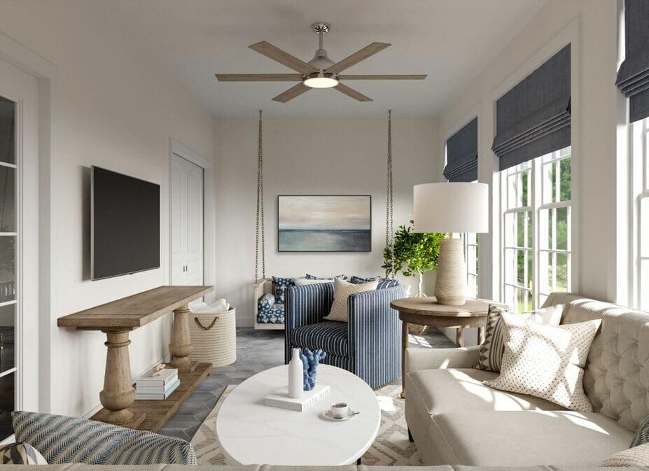 Coastal sunroom with beach decor