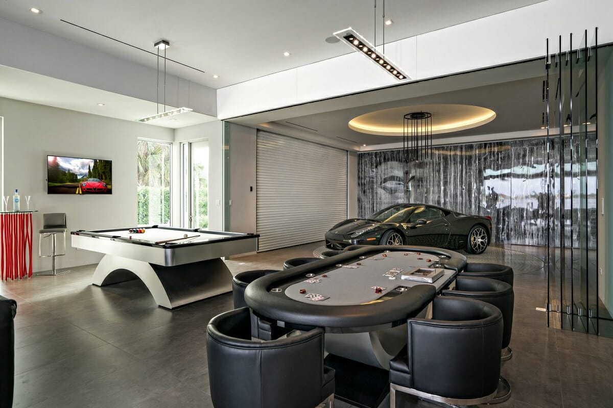 Luxurious man cave garage - Houzz