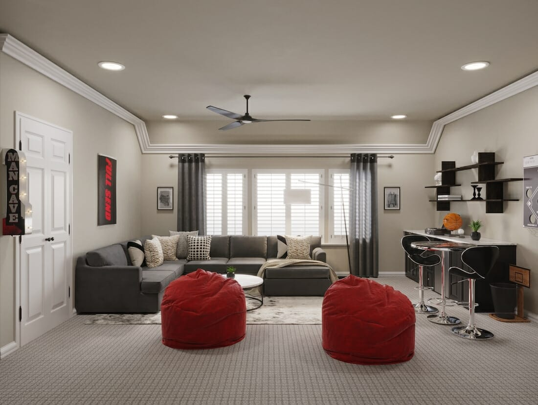 Modern red and black man cave design