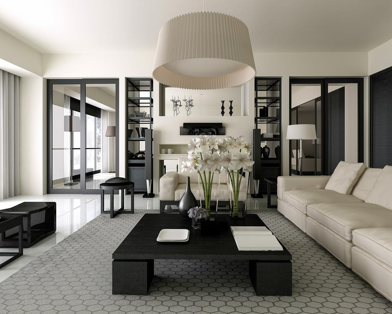 black and white contemporary living room by interior decorator okc decorilla
