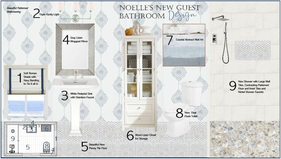 coastal style decor in the interior design mood board