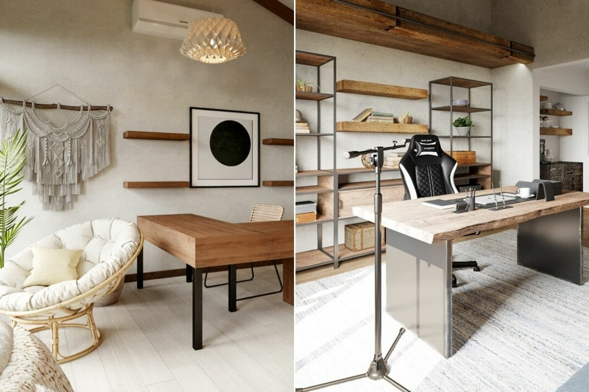 his and hers desk for a office space in a boho and industrial rooms