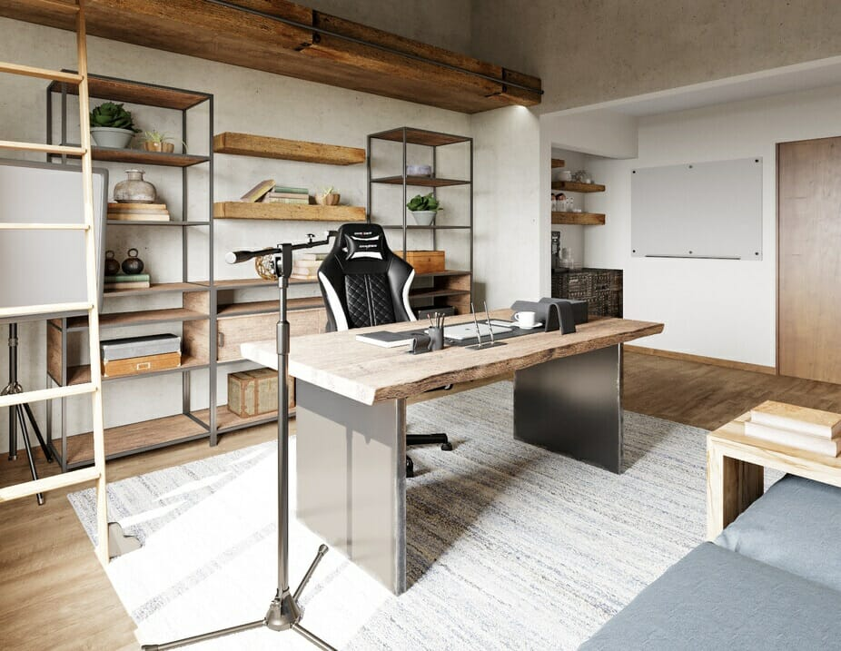 industrial home decor for a his and hers office space