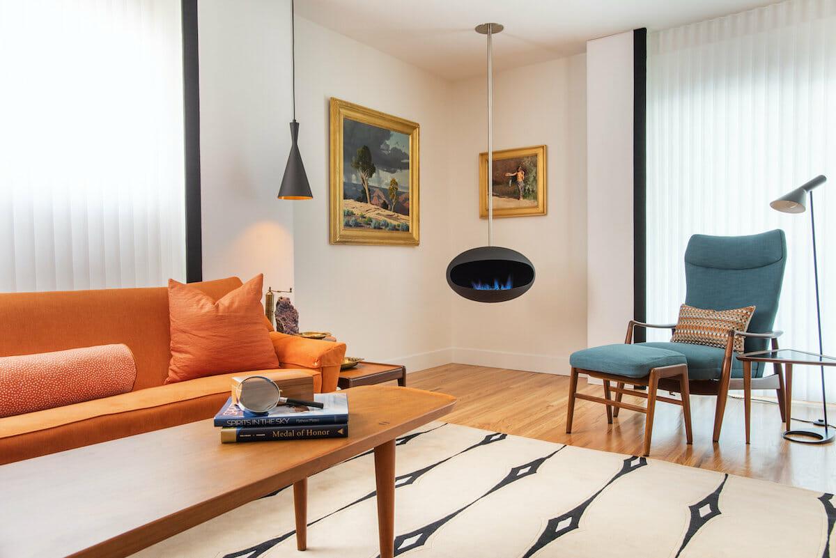 mid century modern living room by top interior decorator colorado springs tricia turk