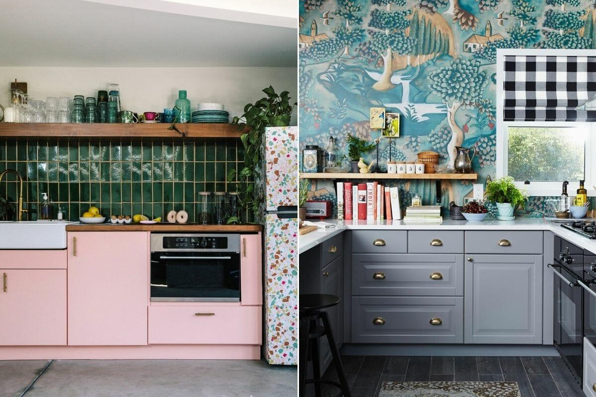 Backsplash with bold kitchen cabinet colors