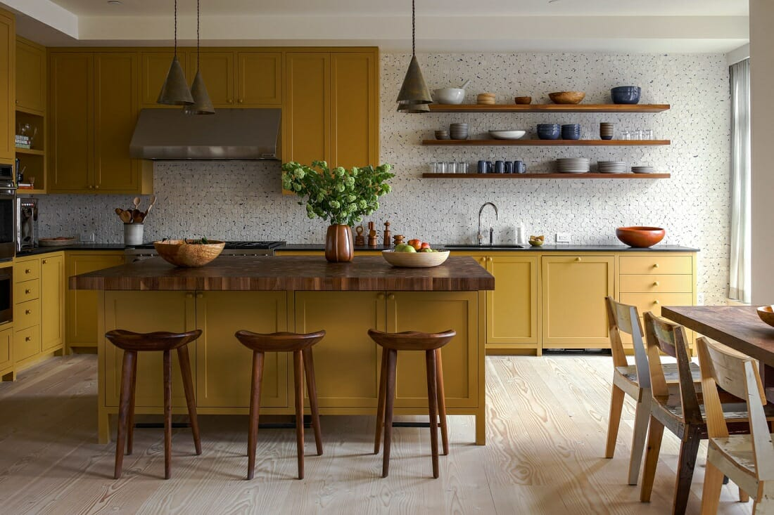 Bright mustard yellow kitchen cabinets - Studio Shamshiri