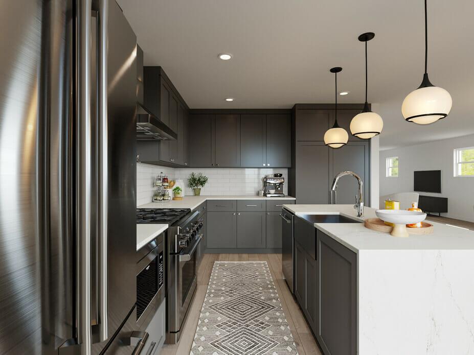 Contemporary grey kitchen cabinets by decorilla designer drew f.
