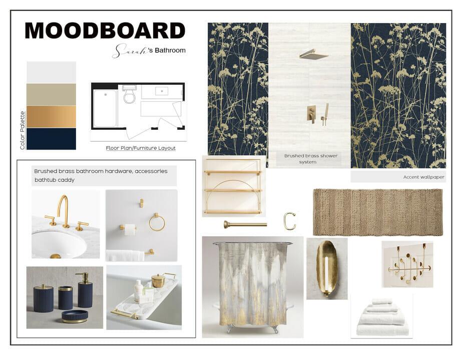 Dark floral bathroom wallpaper ideas with brass accessories