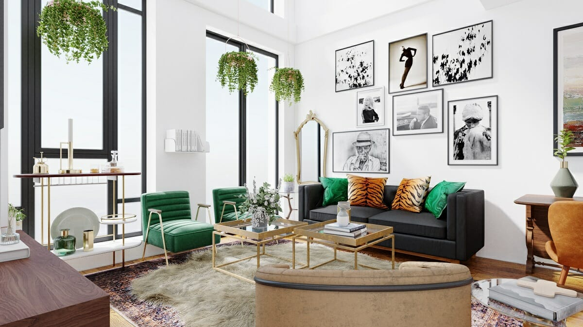 Eclectic living room design with plants - Wanda P