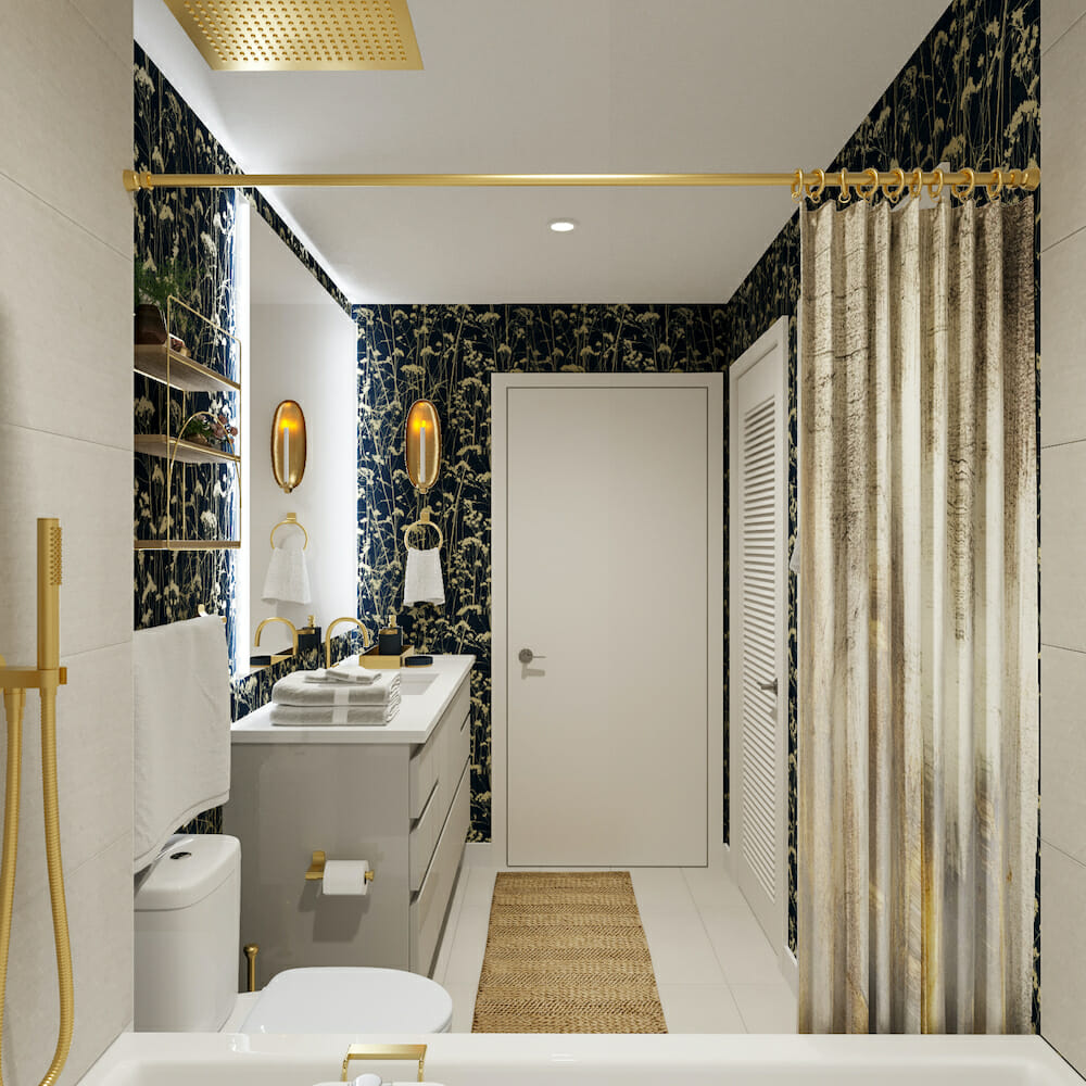 Floral wallpaper bathroom design with gold finishes