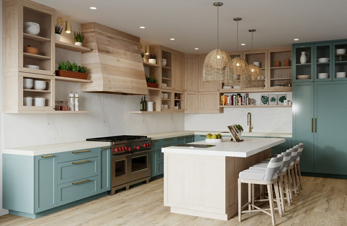 Green-blue kitchen cabinets - Betsy M