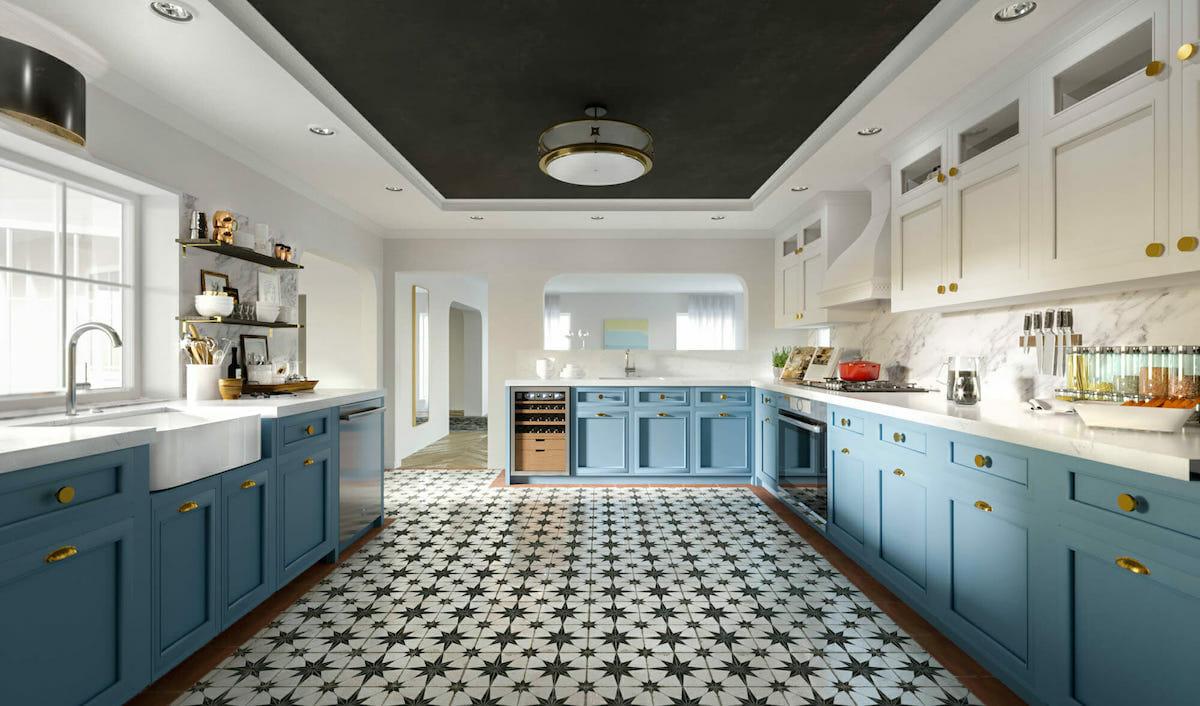 Spanish influenced blue kitchen cabinets